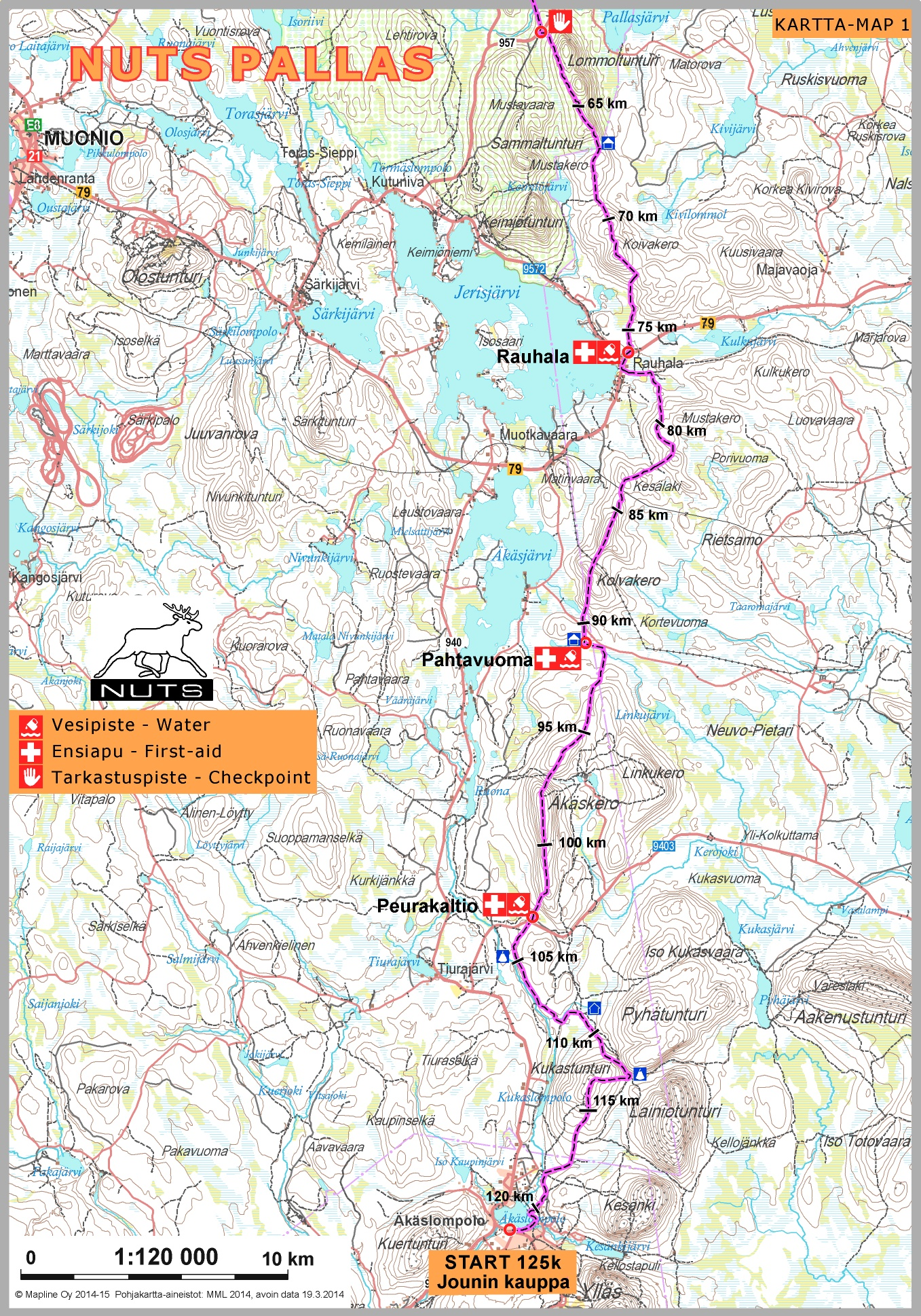 Nuts Pallas Midnight Sun Trail Ultra Route Map Nuts Trail Running